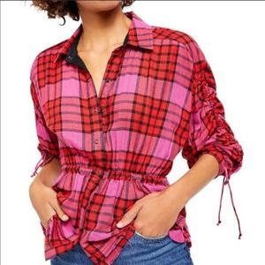 Free People Top Pacific Dawn Drawstring Red Plaid